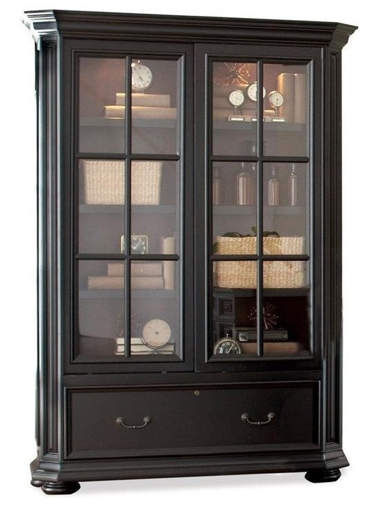 Riverside Furniture - Allegro Sliding Door Bookcase Cabinet - Two glass insert framed doors.