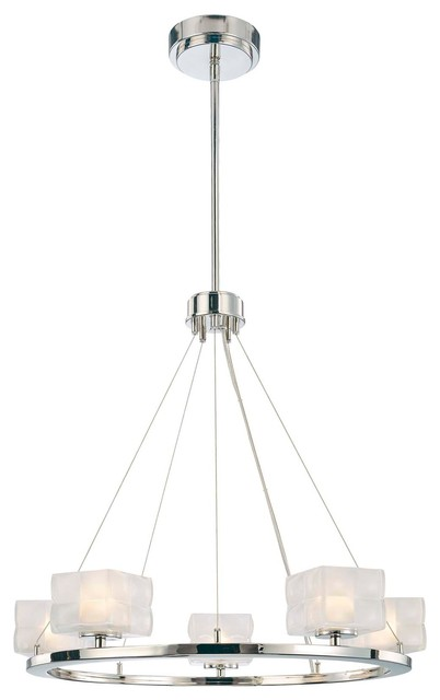 George Kovacs Squared Nickel 5-Light Chandelier contemporary-chandeliers