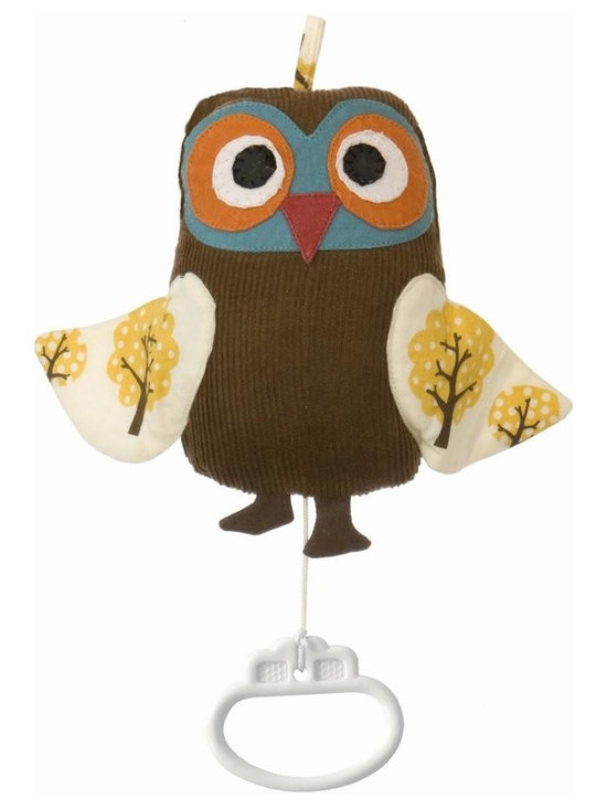 Ferm Living Organic Owl Music Mobile - A wise little Owl mobile playing Brahm's Lullaby by Ferm Living! Hang it by the bed and let the owl lull your little ones to sleep.
