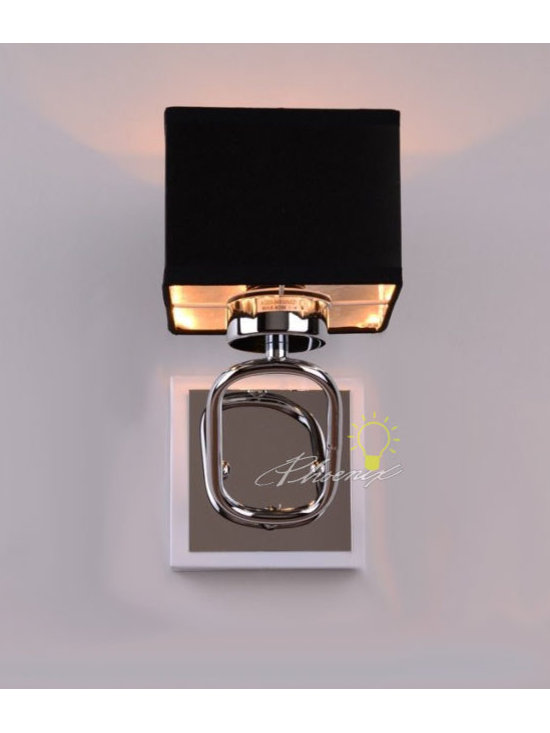 Stainless and Fabric wall sconce in Polished Chrome Finish - Size:W4.72'' X H7.08'' X D10.23''