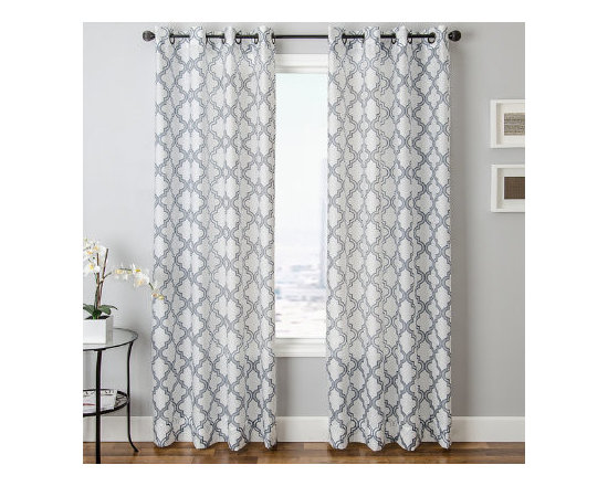 Grandin Road - Encore Burnout Sheer Panel with Grommets - Patterned sheer curtain panel featuring a fretwork pattern finished with a distinctive burnout texture. Each panel is sold separately. 80% polyester for durability, 20% rayon for a pleasing sheen. Each panel hangs from eight nickel-toned grommets. See our selection of curtain rods (sold separately). Outfit your window with the elegance of the Encore Burnout Sheer Panel; it's a sheer curtain that features a versatile fretwork-inspired design, so you can enjoy diffused light and a designer look with just one layer. Sheers are an excellent way to protect furnishings and floors from exposure to strong sunlight, and still let light into the room. Select one of the neutral color combinations to complement your space – hang it alone or layer it with more decorative panels for an even more dramatic look.  .  .  .  .  . Dry clean only . Imported.