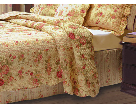None - Antique Rose 15-inch Drop Bedskirt - Traditional floral motifs and warm colors refine the look of this updated classic bedskirt. The beautiful fabric features garden roses in rich red and gold hues and coordinates with the Antique Rose quilt sets and accessories (sold separately).