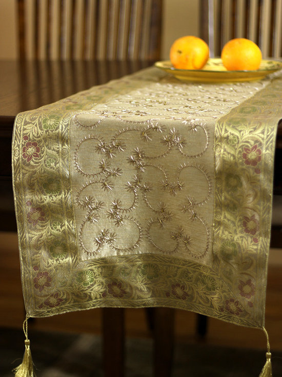 """Elegant Table Runners - Dazzling """"Light Gold"""" Table Runner. Indian embroidered design. Dupion fabric. Perfect decor idea to embellish your room."""