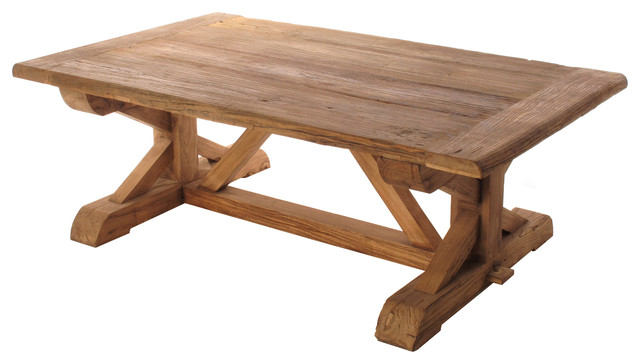 Regis Solid Reclaimed Elm Wood Trestle Based Coffee Table Traditional Coffee Tables By
