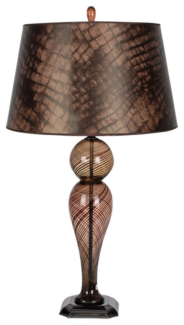 Contemporary duchess brown glass with brown shade table for Brown table lamp shades