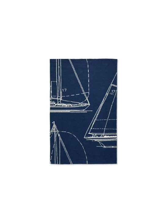 Grandin Road - Sail Away Outdoor Rug - Rugged, hand-hooked, looped construction. 100% polypropylene fibers resist the effects of sun, moisture, and wear. Available in sizes for virtually any need. A beautiful addition indoors, as well. Simply hose clean and let dry in the sun. With the introduction of larger sizes, our best-selling Sail Away Outdoor Mats and Rugs collection gets even bigger. Let graphic sketches of sailboats transform your outdoor floor.  .  .  .  .  . Design varies by size . Imported.
