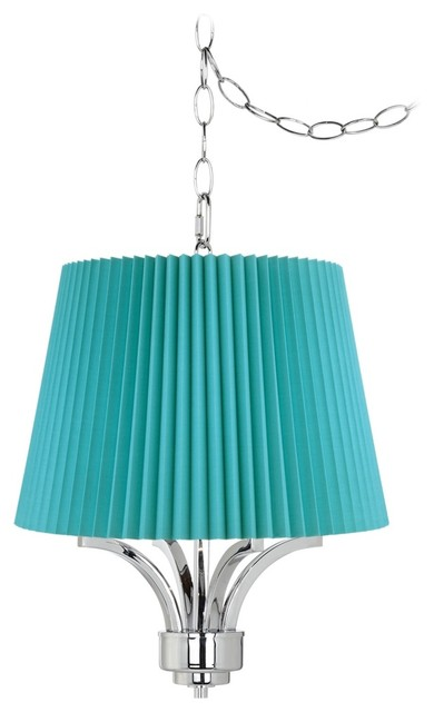 """Traditional Fortuna Chrome 16"""" Wide Turquoise Pleat Mini Chandelier traditional-chandeliers"""