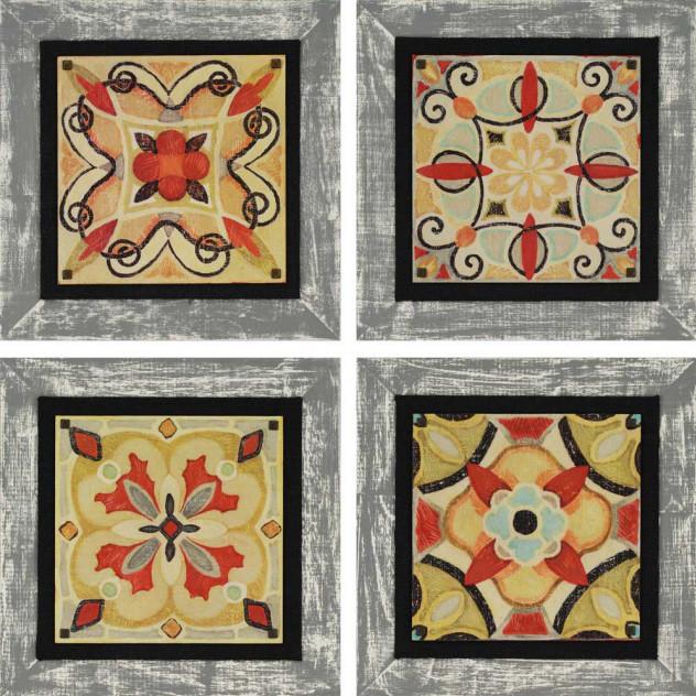 Bohemian Tiles PK/4 - Framed Art contemporary-frames
