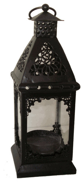 "Decorative Candle Lantern Black 7"" Height traditional-candles-and-candle-holders"