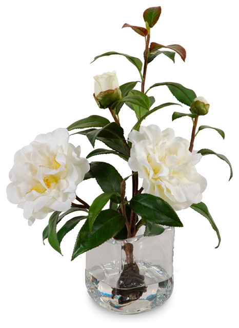 Camellia Cuttings in Water Illusion traditional-artificial-flower-arrangements