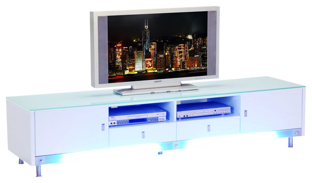 Diamond Sofa 83 Inch Low Profile Lighted Plasma Cabinet in White - Traditional - Entertainment ...