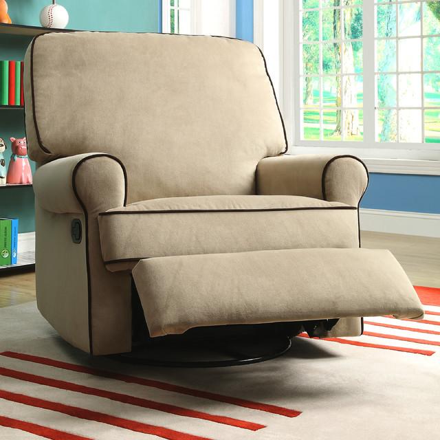 Chloe Sand Fabric Nursery Swivel Glider Recliner Chair ...