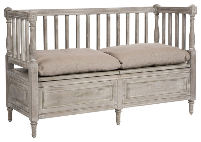 damita french country weathered gray high back storage bench sofa short transitional. Black Bedroom Furniture Sets. Home Design Ideas