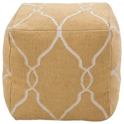 Decorative Grammace Pouf, Golden Yellow/Ivory contemporary-floor-pillows-and-poufs