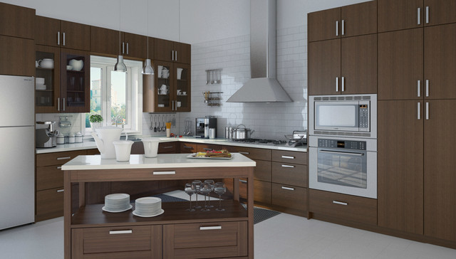 Bamboo Scotch Slab - Contemporary - Kitchen Cabinetry - los angeles - by Domain Cabinets Direct ...