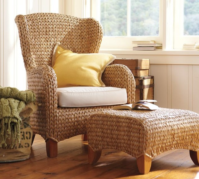 Pottery Barn Chairs Accent: Sea Grass Wingback Armchair, Honey