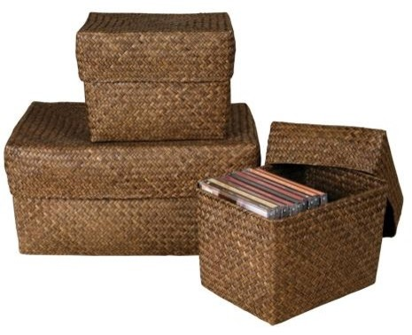 Set of 3 Rectangular Kona Seagrass Boxes with Lids tropical-storage-bins-and-boxes