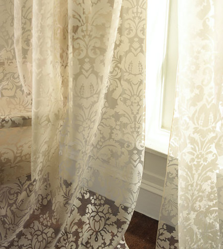 Olivia Damask Curtains contemporary-curtains