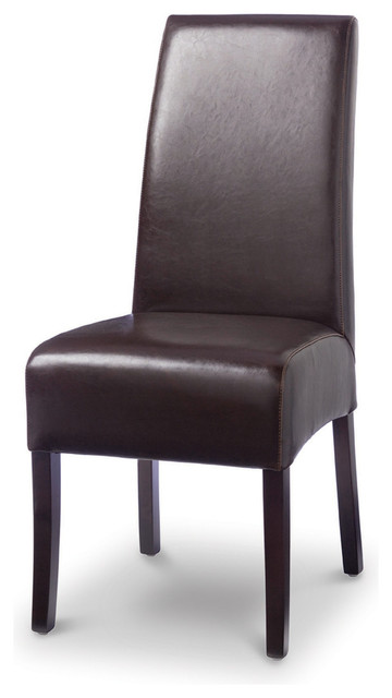 leather dining chair with white stitch dark brown traditional dining