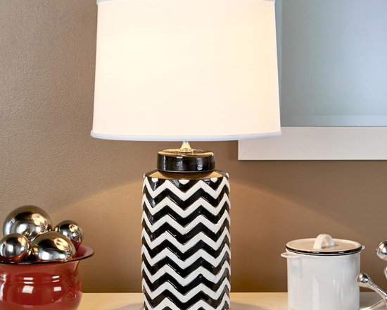 Black and White Chevron Table Lamp -