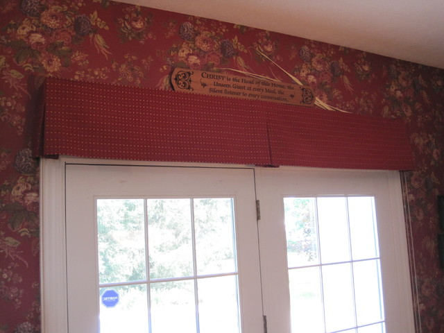 box pleated valance over french doors - traditional