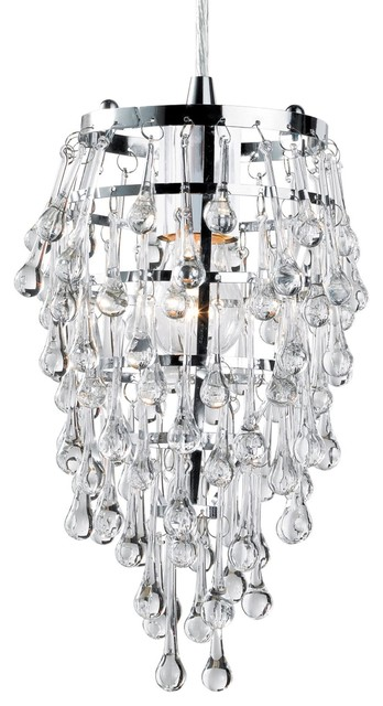 Eurofase 12260-010 Vidal 1-Light Pendant, Chrome/Clear Crystal contemporary-pendant-lighting
