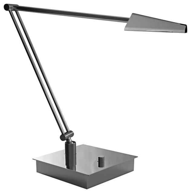 Mondoluz Ronin Angle Chromium Square Base LED Desk Lamp contemporary-table-lamps