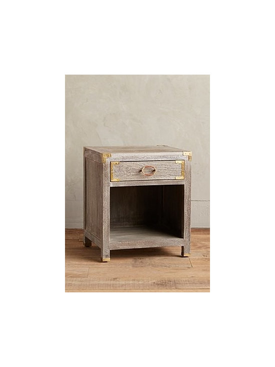 Anthropologie - Portside Nightstand - One divider in each drawer. Handcarved mango wood, brass, leather. Distressed finish. Mortise-and-tenon joinery. Fitted with brass and leather hardware. Imported