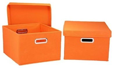 Household Essentials Side Storage Bins, Orange, Set of 2 contemporary-storage-bins-and-boxes