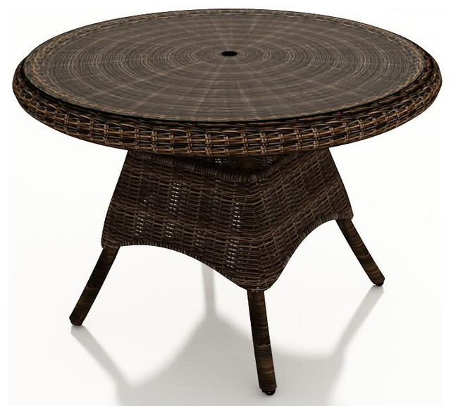 Wicker Dining Table Mocha Wicker Traditional Outdoor Dining Tables