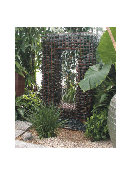 Gabion Water Fountain - Ancient Design Modern Fountain - Yes, it's a fountain! I love the different elements at work here - the steel frame holding the smooth river rock with water flowing.
