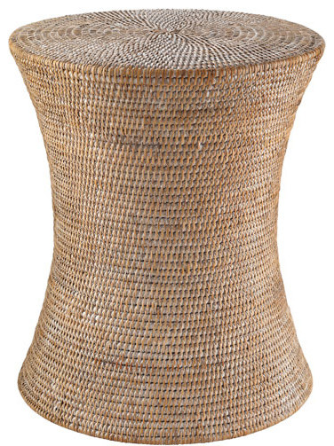 Whitewashed Woven Rattan Stool Contemporary Side