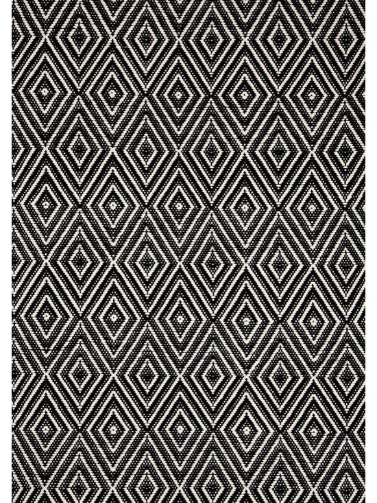 """Diamond Black/Ivory Indoor-Outdoor Rug, 2'6"""" x 8' -"""