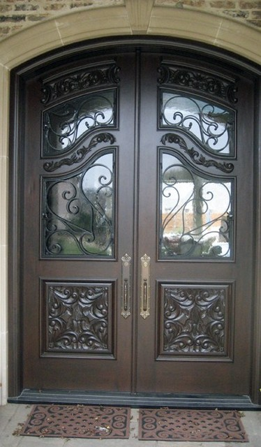 Mahogany Wrought Iron Carved Doors mediterranean front doors