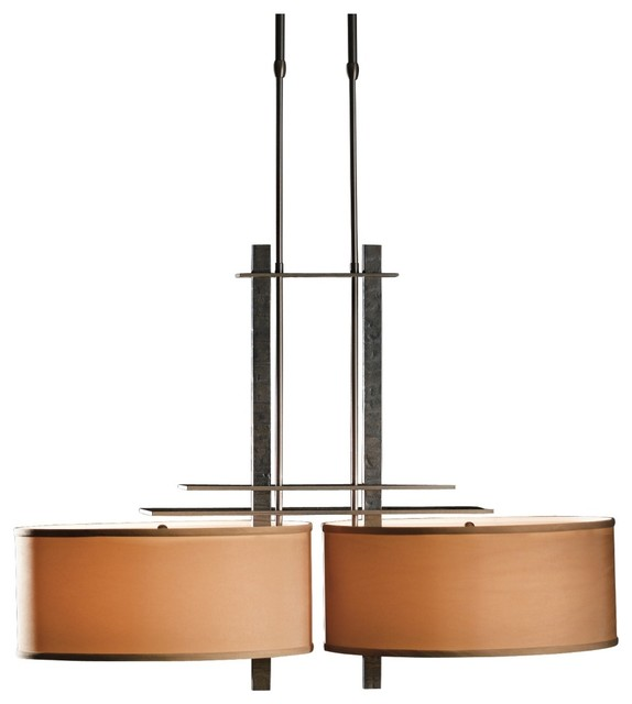Contemporary Hubbardton Forge Ondrian Double Burnished Steel Chandelier contemporary-chandeliers