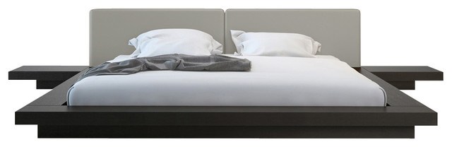 Worth Bed, Wenge / Warm Gray Leather modern-beds