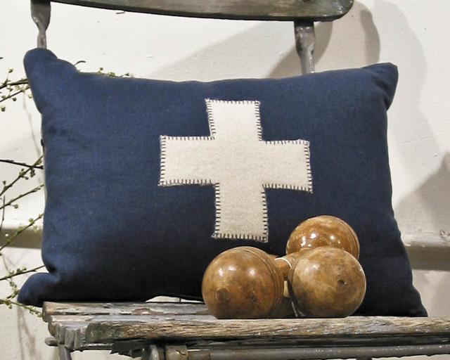 Cream Cross Pillow on Navy Linen traditional-decorative-pillows
