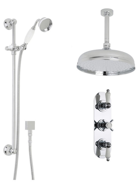 """Hudson Reed - Thermostatic Shower System, Apron Head & Ceiling Arm & Brass Handset - Add traditional elegance to your bathroom with the Beaumont thermostatic shower system from Hudson Reed. Providing a refreshing showering experience, this shower kit comes complete with the triple thermostatic shower valve, 12 apron shower head with arm and the slide rail kit with handset.Supplying water at a pre-set maximum temperature, the durable shower valve features a built-in anti-scald device for total peace of mind. Made in Great Britain, the shower valve also incorporates ceramic disc technology for smooth and precise control. Hudson Reed Thermostatic Triple Shower Valve Details   Solid brass rough-in valve Made in Great Britain Serviceable check valves and strainers Ceramic Disc Technology Pre-set maximum temperature 104ºf Automatic anti scald device Recommended pressure for best performance 2 to 75 psi  ½ NPT Inlets and Outlets Compatible with standard US plumbing connections Compatible with combi boilers, gravity fed systems, unvented mains pressure systems and for shower pumps Warranty: 10 years  Hudson Reed 12 Apron Shower Head Details   IAPMO Approved 1/2 NPT inlets Chrome finish 9.5L/min 2.5gpm regulator installed Supplied with 6 ceiling arm  Hudson Reed Traditional Slide Rail Details   Chrome finish IAPMO approved Easy to fix Includes large brass traditional handset  Shower Consists of:     UFG-HR721Triple Valve Body Only Concealed  UFG-HRPS715Slim Triple Racetrack Trim Plate  UFG-HRH713Beaumont Crosshead Temperature Handle  UFG-HRH715Beaumont Flow Control Lever  UFG-HRSK704Trad' Slider Rail Kit  UFG-HRFH70159"""" Double Lock  UFG-HRH1981/2 Double Check Valve Connector with DW15 Check Valves  UFG-HROE701Square Outlet Elbow  UFG-HRHS705Large Brass Traditional Handset  UFG-HRSH705Apron Fixed Head 12""""  UFG-HRAM704Round Ceiling Arm 6"""""""