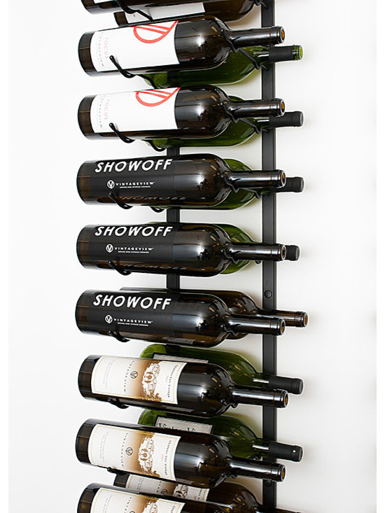 VintageView® 18 Bottle Wall Mounted Wine Rack in Satin Black - Expand the convenience of your wall mounted wine rack system. Suitable for large bottles up to 1.5 L. These metal wine racks are durable and elegant. Showcase your wine, not the rack. We are the #1 dealer of VintageView products in America. We earned our position with unsurpassed customer service.