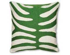 Green And Natural Zebra Pillow eclectic-pillows