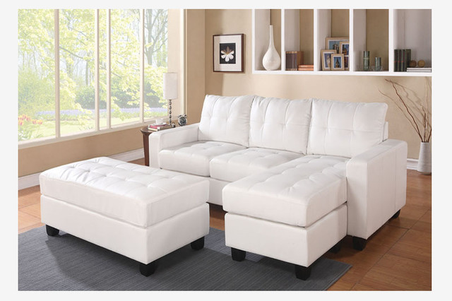 Acme White Leather Sectional Sofa Reversible Chaise