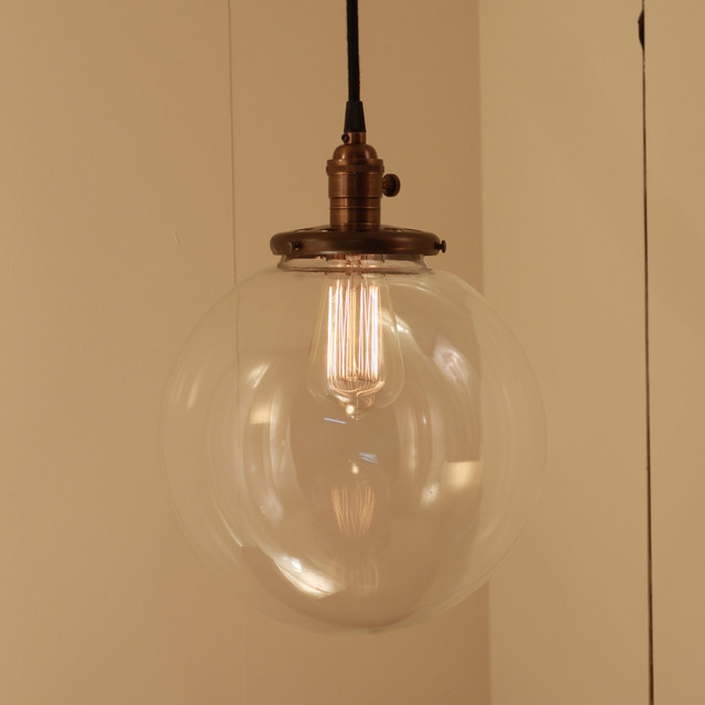 Hanging Pendant Light Fixture with Xtra Large Glass Globe by