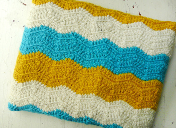 Baby Blanket in Blue, Yellow and White by Bklyn Baby traditional-baby-bedding