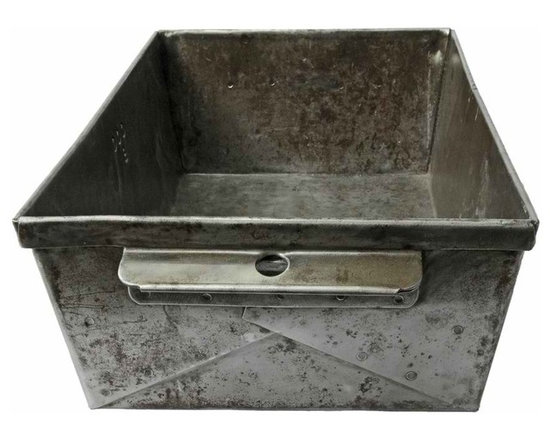 Folded Steel Factory Storage Bin - This heavy factory storage bin has been sanded, waxed and buffed to enhance its patina.Made of folded industrial steel. Buy several of these reclaimed storage bins to stash your cache.