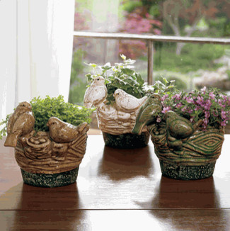 Nesting Sparrow Planter Set traditional indoor pots and planters