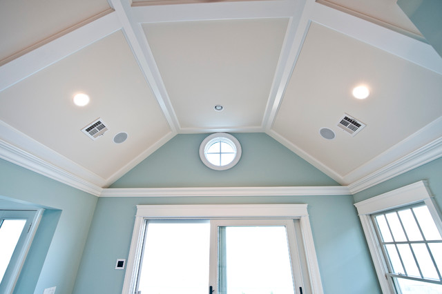 Low Profile Coffered Ceiling Traditional Living Room