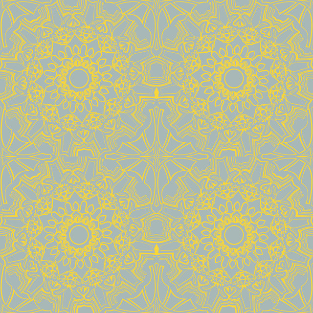 Medallion Removable Wallpaper, Sunrise contemporary-wallpaper