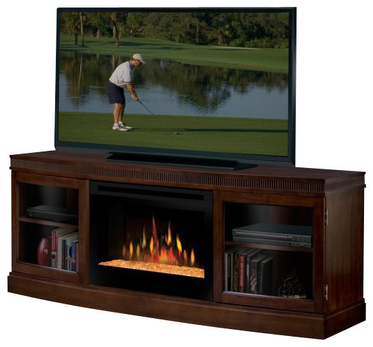 Dimplex Wickford Electric Fireplace Media Console In Walnut Modern Entertainment Centers And