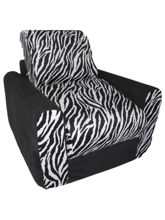 """Fun Furnishings - Fun Furnishings Zebra Chair Sleeper in Black/ White - What a great place to plop down and relax. Each bag come with a handy pocket to store the clicker or any other prized possession. The outer cover is removable for cleaning. The inner liner bag securely contains new fire retardant �beads"""" and is refillable too. Cleaning the cover. We use only fine upholstery-grade fabrics that can take lots of use from kids. Our micro Suede's, denims and chenille's are all washable."""