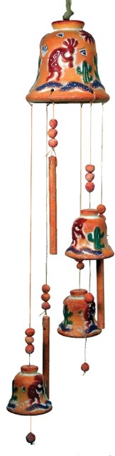 30 inch beaded kokopelli with cactus terra cotta bell wind for Terracotta wind chimes